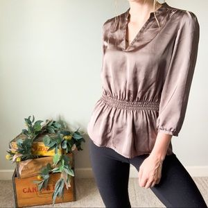 H&M Olive Green Flounce Satin Blouse 🌿